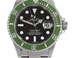 5. rolex | submariner kermit, reference 16610lv stainless steel wristwatch with date and bracelet circa 2006