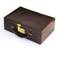 9. a gold and leather jewelry case, cartier