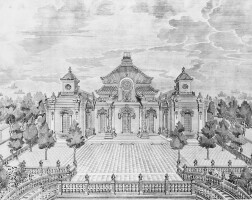 34. a complete set of etchings of palaces, pavilions and gardens created by giuseppe castiglione in the imperial ground at yuanming yuan at the summer palace beijing paris, 1977