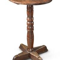 2005. pilgrim century turned maple and pine cross-base stand, new england, circa 1700