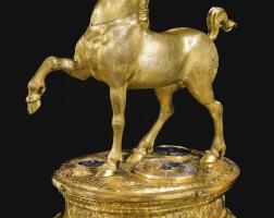 18. a renaissance gilt-copper quarter striking automaton unicorn table clock, south german, circa 1590