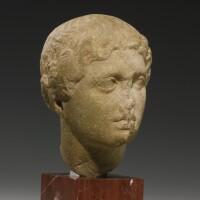 14. a greek marble head of a woman, attic, circa mid 5th century b.c.