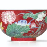101. a magnificent ruby-ground falangcai 'double-lotus' bowl blue enamel yuzhi mark and period of kangxi