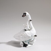41. a meissen figure of a swan with two cygnets circa 1747