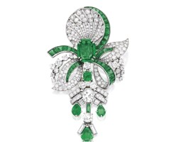 11. platinum, emerald and diamond pendant-brooch
