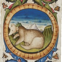 7. ducks and a bear in a large illuminated border [italy (brescia), 15th century (3rd quarter)]