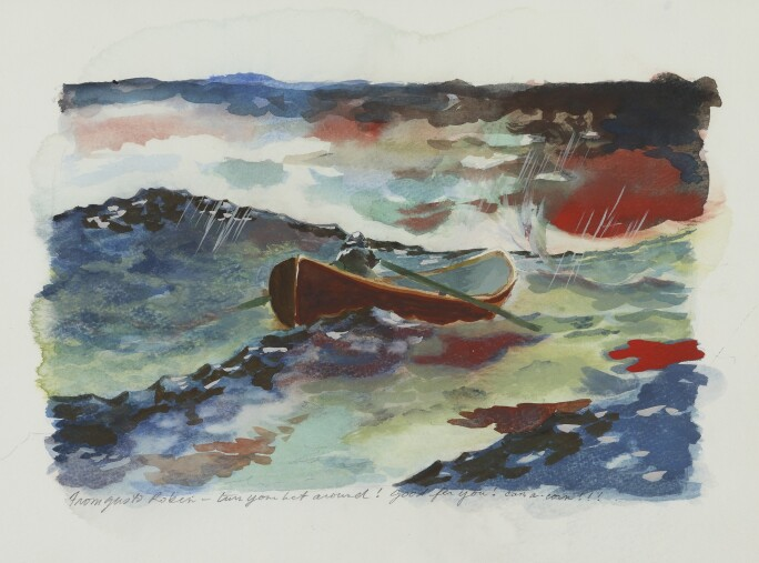 Watercolor of a man in a rowboat amid  turbulent waters.