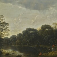 102. cornelis matthieu   an angler fishing in a woodland setting, with a gentleman on horseback on the path beside him