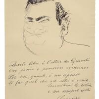 174. caruso, enrico. fine large autograph self-caricature