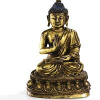 25. 明十五世紀 鎏金銅佛坐像
