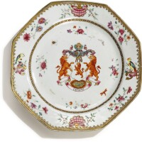 309. a chinese export armorial octagonal plate, qing dynasty, qianlong period, circa 1755 |