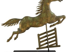 1782. molded and gilded copper 'flying steeplechase' weathervane, attributed to a.l. jewell & company, new york |