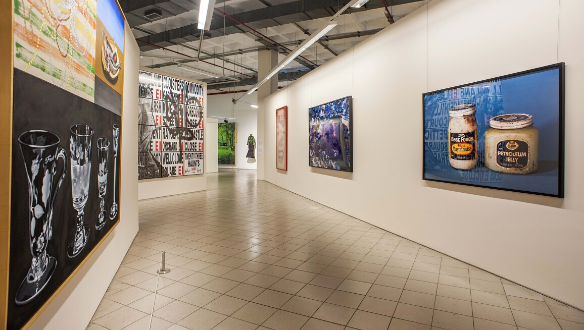 Interior gallery with works by David Salle, Gilbert & George, Barbara Kruger, Cindy Sherman and Paul McCarthy