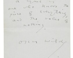 315. wilde, oscar; and constance lloyd wilde. autograph epigrams. 2 pp. 1893.