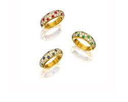 1608. three gem-set and diamond rings, cartier