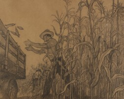 26. n. c. wyeth | bringing in the ears (composition drawing)