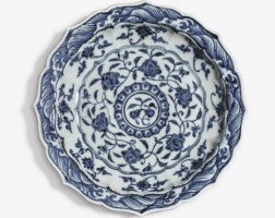 108. a small blue and white barbed dish ming dynasty, yongle period |
