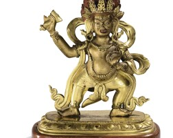 37. 清十八世紀 鎏金銅不動明王立像