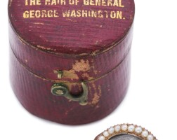 1049. american gold and pearl mourning ring containing hair stated to be of george washington, circa 1800
