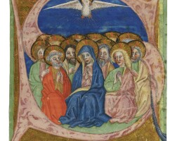 9. pentecost, historiated initial cut from an illuminated manuscript gradual on vellum