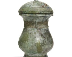 4. an archaic bronzewine vessel, zhi, and a cover shang dynasty