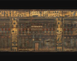 73. two egyptian polychrome wood panels from the sarcophagus of hathor-hotep, 1st half of the 12th dynasty, circa 1938-1850 b.c. | two egyptian polychrome wood panels from the sarcophagus of hathor-hotep
