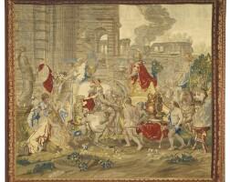 7. tapisserie flamande le triomphe d'alexandre de la tenture de l'histoire d'alexandre, atelier bruxellois, second quart du xviiie siècle, d'après charles le brun