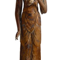 3044. a carved wood figure of avalokiteshvara japan, late heian period  