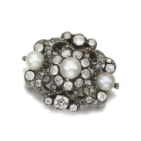 45. naturalpearl and diamond brooch, second half of the 19th century