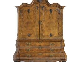 5. a dutch walnut and burr walnut cabinet rococo, mid 18th century