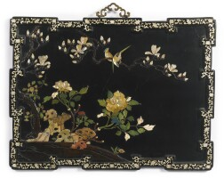 231. a rare and large embellished black lacquer panel qing dynasty, kangxi period