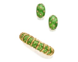 10. gold and enamel 'dot losange'bracelet and pair of earclips, schlumberger for tiffany & co., france