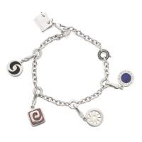 18. white gold and hardstone charm-bracelet, bulgari