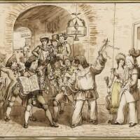 348. bartolomeo pinelli | a scene from the roman carnival, inside an osteria