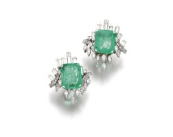 144. pair of emerald and diamond ear clips