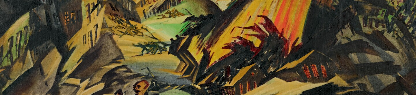 A fractured and fiery cityscape with two figures fleeing in the foreground.