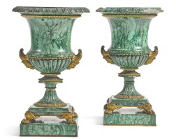 309. a pair of russian gilt-bronze mounted malachite veneered campana urns, designed by ivan ivanovichgalberg circa 1830 |