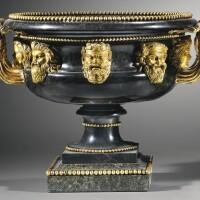 52. a pair of italian gilt-bronze mounted pietra nefritica o ponderaria antique marble warwick and de lante vases 1st quarter 19th century