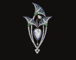 416. emerald, sapphire and diamond brooch, boucheron, circa 1920