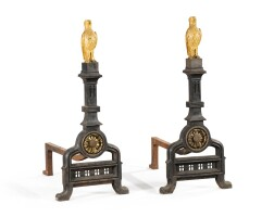 28. a pair of large painted and gilt-bronze and wrought iron chenets, late 19th century  