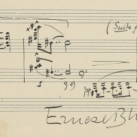 165. bloch, ernest. autograph musical quotation from the suite for viola and piano, signed and inscribed by the composer
