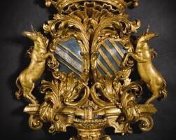 13. 意大利彩繪局部鎏銀泥金木雕牆壁燭台一套六件 約1705年,皮埃蒙特 |