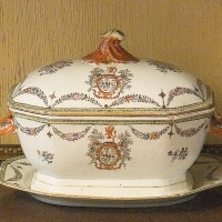 12. a chinese export porcelain famille-rose armorial tureen, cover and platter qing dynasty, circa 1770-80