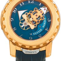 162. ulysse nardin   freak, reference 026-88 a pink gold carrousel tourbillon wristwatch with dual direction escapement, circa 2010