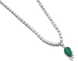 41. 祖母綠配鑽石長項鏈