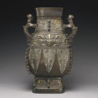 382. an archaistic gold-inlaid bronze vessel (hu) qing dynasty, 18th century