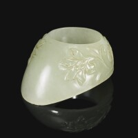 140. a carved jade archer's thumb ring, india, 17th century