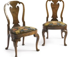 2. a fine pair of george ii burr and figured walnut needlework-upholstered side chairs circa 1730
