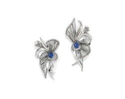 52. pair of sapphire and diamond brooches, 1950s