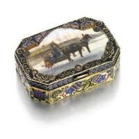 201. a fabergé silver-gilt and pictorial enamel box, workmaster feodor rückert, moscow, 1908-1917